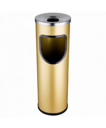 Cosuri gunoi cu scrumiera - Cos de gunoi auriu cu scrumiera din INOX - 25 litri - arli.ro