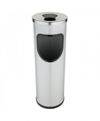 Cosuri gunoi cu scrumiera - Cos de gunoi gri cu scrumiera din INOX - 25 litri - arli.ro