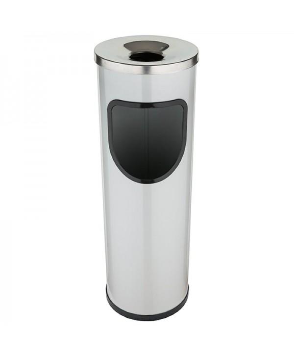 Cosuri gunoi cu scrumiera - - Cos de gunoi gri cu scrumiera din INOX - 25 litri - arli.ro