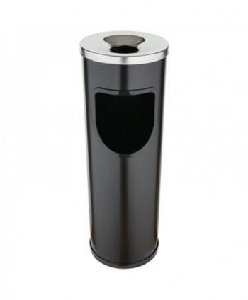 Cosuri gunoi cu scrumiera - Cos de gunoi negru cu scrumiera din INOX - 25 litri - arli.ro