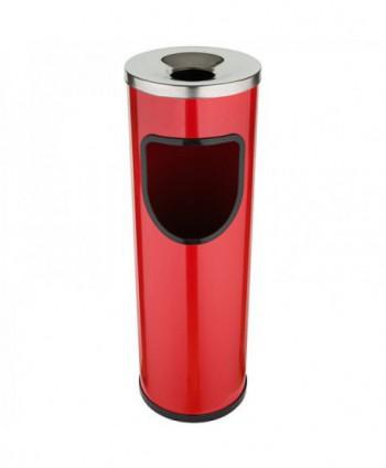 Cosuri gunoi cu scrumiera - Cos de gunoi rosu cu scrumiera din INOX - 25 litri - arli.ro