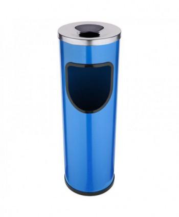 Cosuri gunoi cu scrumiera - Cos de gunoi albastru cu scrumiera din INOX - 25 litri - arli.ro