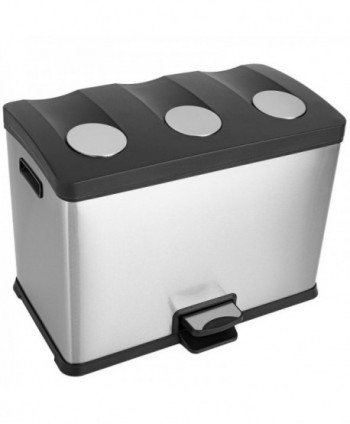 Cosuri gunoi inox - Cos de gunoi 3 in 1 din inox cu SOFT CLOSE - 36 litri - arli.ro