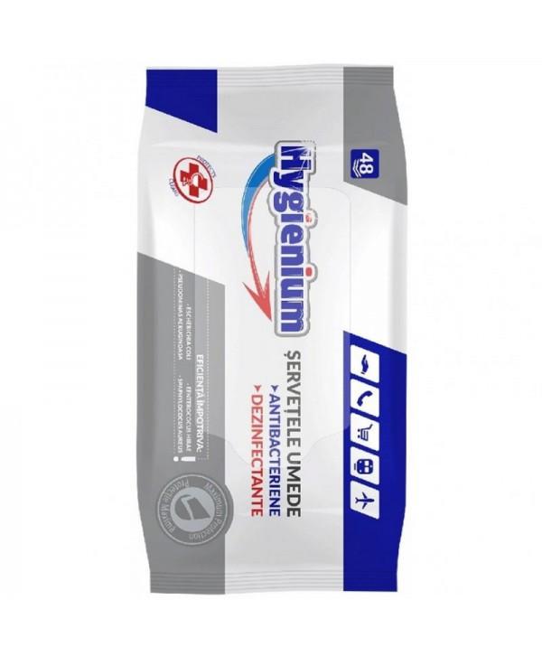 Dezinfectanti pentru suprafete - - Servetele dezinfectante cu efect bactericid - Hygienium - 48 bucati - arli.ro