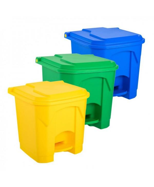 Cosuri gunoi selectiv - - Set 3 Cosuri de gunoi cu pedala pentru colectare selectiva - 30 litri - arli.ro