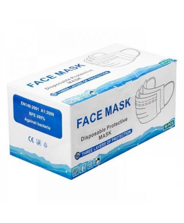 Masti, manusi, viziere - - Masca protectie certificata CE, 3 pliuri, 3 straturi, cu elastic - Cutie cu 50 bucati - arli.ro