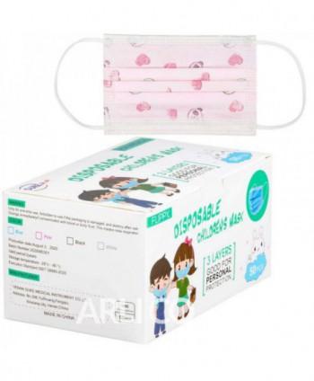Masti, manusi, viziere - Masca de protectie roz pentru copii, 3 straturi - Cutie cu 50 bucati - arli.ro