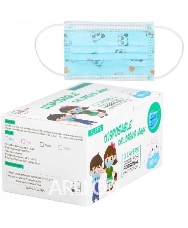 Masti, manusi, viziere - - Masca de protectie bleu pentru copii, 3 straturi - Cutie cu 50 bucati - arli.ro