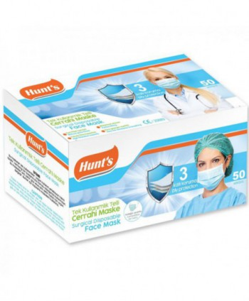 Masti, manusi, viziere - Masca de protectie chirurgicala, CE, 3 straturi - Cutie cu 50 bucati - arli.ro