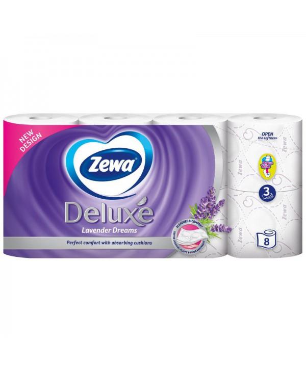Consumabile din hartie - - Hartie igienica Zewa Deluxe Lavender Dreams  - pachet 8 role - arli.ro