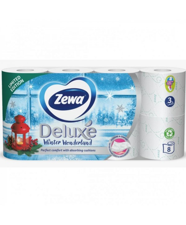 Consumabile din hartie - - Hartie igienica Zewa Deluxe Winter Wonderland - pachet 8 role - arli.ro