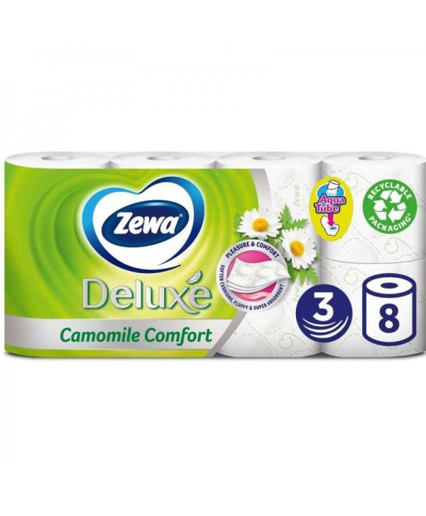 Consumabile din hartie - - Hartie igienica Zewa Deluxe Camomile Comfort  - pachet 8 role - arli.ro
