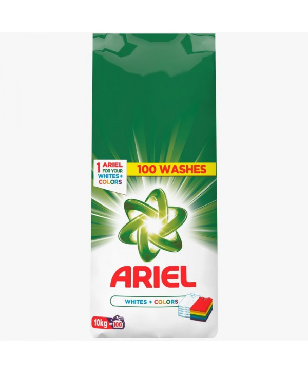 Detergenti si solutii de curatat - - Detergent praf pentru rufe Ariel Whites + Colors  - 10 Kg - arli.ro