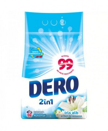 Detergenti si solutii de curatat - Detergent praf pentru rufe Dero 2 in 1 Iris alb si flori de romanita - 6 Kg - arli.ro