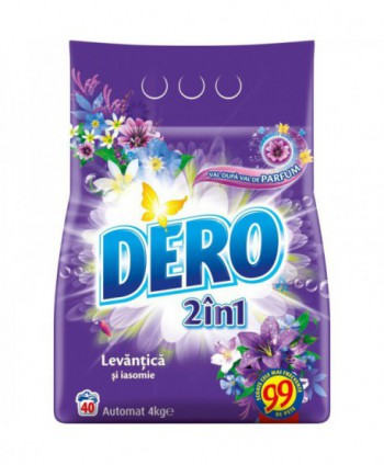 Detergenti si solutii de curatat - Detergent praf pentru rufe Dero 2 in 1 Levantica si iasomie - 4 Kg - arli.ro