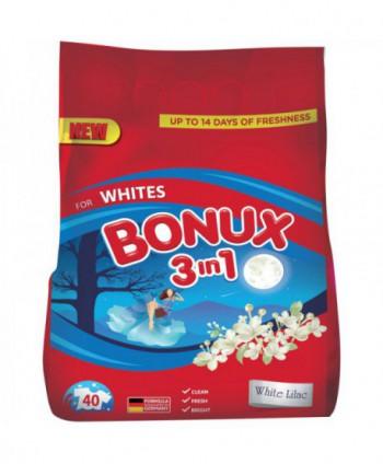 Detergenti si solutii de curatat - Detergent praf pentru rufe Bonux 3 in 1 White Lilac Whites - 4 Kg - arli.ro