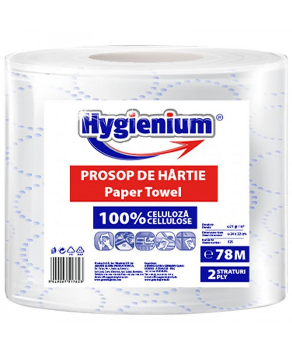 Consumabile din hartie - - Prosop de hartie alba Decor, celuloza 2 straturi, 78 m Hygienium - 1 rola - arli.ro