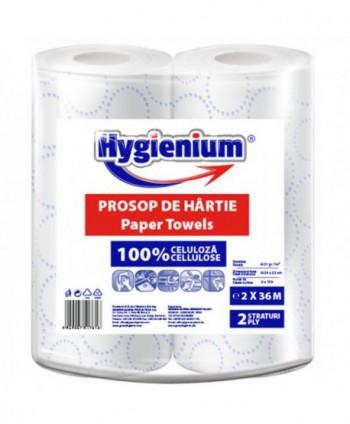 Consumabile din hartie - Prosop de hartie alba cu model albastru, celuloza 2 straturi, 36 m Hygienium - 2 role - arli.ro