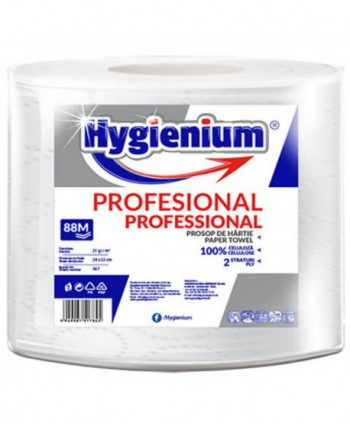 Consumabile din hartie - Prosop de hartie alba, celuloza 2 straturi, 88 m Hygienium - 1 rola - arli.ro