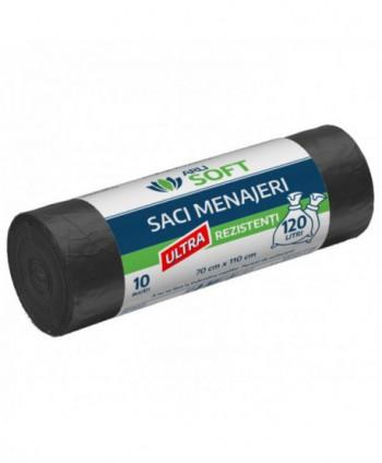 Saci menajeri - Saci menajeri 10 buc / rola ultra rezistenti, negri, ArliSoft - 120 litri - arli.ro