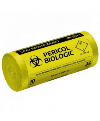 "Saci menajeri - Saci inscriptionati ""Pericol biologic"", galbeni ArliSoft - 35 litri - arli.ro"