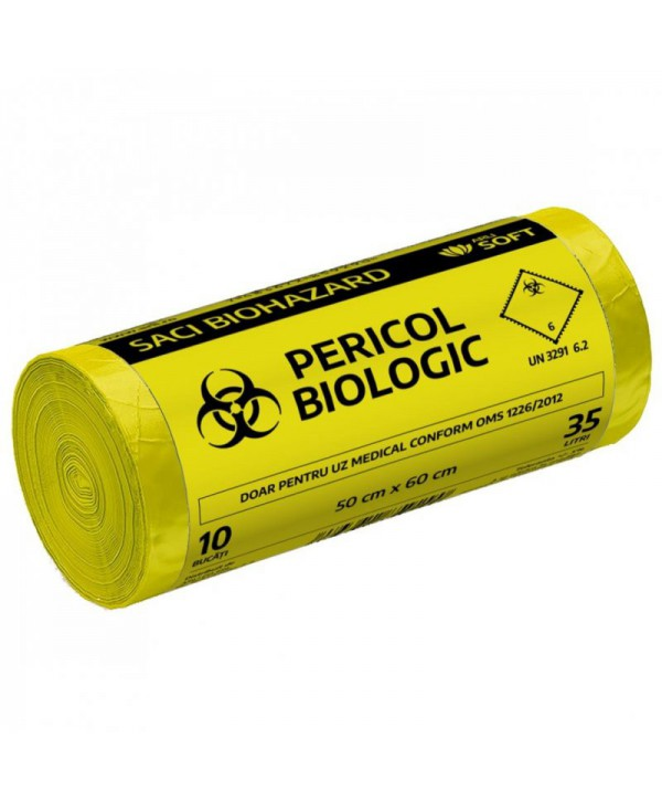 "Saci menajeri - - Saci inscriptionati ""Pericol biologic"", galbeni ArliSoft - 35 litri - arli.ro"