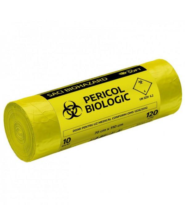 "Saci menajeri - - Saci inscriptionati ""Pericol biologic"", galbeni ArliSoft - 120 litri - arli.ro"
