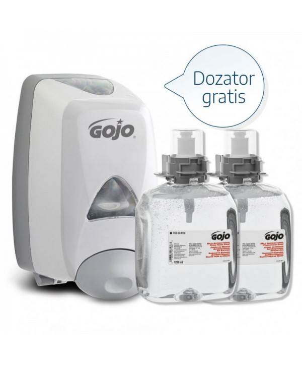 Dezinfectanti pentru maini - - Dozator alb + 2 x Sapun antibacterian tip spuma Gojo FMX 1250ml - arli.ro