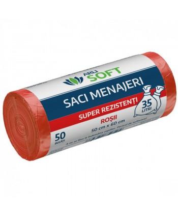 Saci menajeri - Saci menajeri 50 buc / rola super rezistenti, rosii, ArliSoft - 35 litri - arli.ro