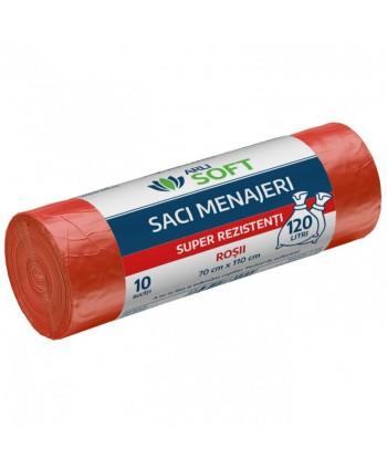 Saci menajeri - Saci menajeri 10 buc / rola super rezistenti, rosii, ArliSoft - 120 litri - arli.ro