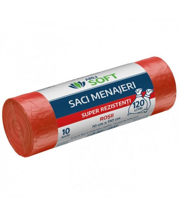 Saci menajeri - - Saci menajeri 10 buc / rola super rezistenti, rosii, ArliSoft - 120 litri - arli.ro