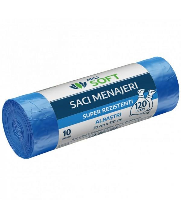 Saci menajeri - - Saci menajeri 10 buc / rola super rezistenti, albastri, ArliSoft - 120 litri - arli.ro