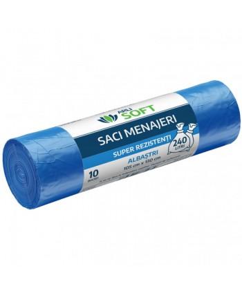 Saci menajeri - Saci menajeri 10 buc / rola super rezistenti, albastri, ArliSoft - 240 litri - arli.ro