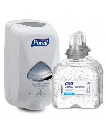 Dozatoare de sapun - Dozator alb cu senzor + 2 x Gel dezinfectant maini Purell TFX 1200ml - arli.ro