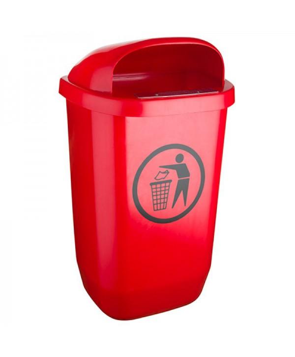 Cosuri gunoi stradale - - Cos de gunoi stradal ROSU - 50 litri - arli.ro